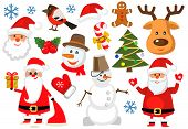 pic of om  - vector color christmas icons set om white - JPG