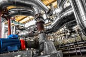 image of manhole  - Large industrial pipes in a thermal power plant - JPG