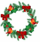 Christmas Wreath with red ribbon and birds. Vector Illustration