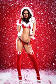Sexy young woman  in provocative Santa Claus costume