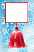 Christmas Bell And Place For Text Isolated on snowflakes background
