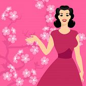 Card with pin up girl and stylized cherry blossom.