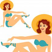 image of 1950s style  - Beautiful pin up girl 1950s style in swimsuit - JPG