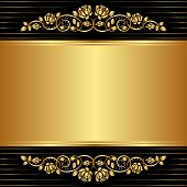 image of symmetrical  - gold black background with floral ornaments   - JPG