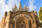 stock photo of sacred heart jesus  - Church of the Sacred Heart of Jesus on summit of Mount Tibidabo in Barcelona Catalonia Spain - JPG