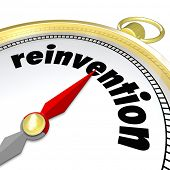 Reinvention Word Gold Compass Renew Refresh