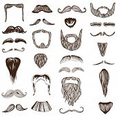 Set of hand drawn Moustache / Mustache - photo booth, costume, party - in vector
