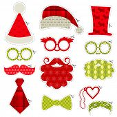 Christmas Photobooth Party set - Glasses, hats, lips, mustaches, masks - in vector