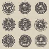 Set of nine coffee labels