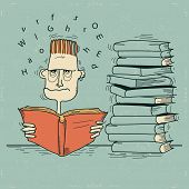 Student And Books.vector Man Tired Of Reading And Want To Sleep
