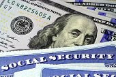 foto of citizenship  - Social security card and US currency one hundred dollar bill - JPG