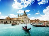 stock photo of gondolier  - Grand Canal and Basilica Santa Maria della Salute - JPG
