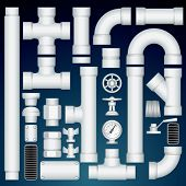 PVC Pipeline Parts. Vector Customizable Kit
