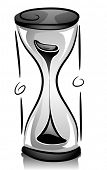 Black and White Illustration of an Hour Glass with Sand Quickly Falling Down