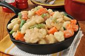Chicken And Dumplings In A Cast Iron Skillet