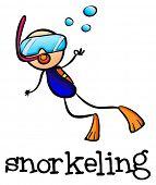 Illustration of a stick man snorkeling on a white background