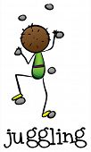 Illustration of a stick man juggling on a white background