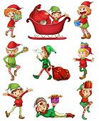 Illustration of the playful Santa elves on a white background