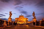 View Of Castel Sant'angelo From The Ponte Sant'angelo Bridge, Rome.