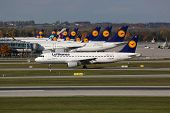Lufthansa Airplanes At Munich Airport