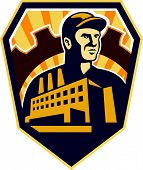 Factory Worker Building Cog Shield Retro