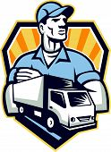 stock photo of moving van  - Illustration of a removal man delivery guy with moving truck van in the foreground set inside shield crest done in retro style - JPG