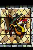 Stained glass window in Cloitre de La Psalette - Cathedral of Saint Gatien in Tours