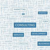 CONSULTING. Concept illustration. Graphic tag collection. Wordcloud collage. Vector illustration.