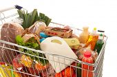 pic of leek  - Shopping cart full with dairy grocery products isolated over white background - JPG