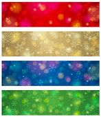 Brightness Color Christmas Banners, Vector Illustration