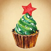 Cupcake with holly berry. Vector Watercolor illustration. Traditional yummy Christmas dessert.