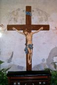 stock photo of crucifiction  - Jesus on Cross in Mission Conception Chapel - JPG