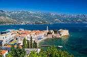 stock photo of yugoslavia  - Montenegro Budva old town top view - JPG