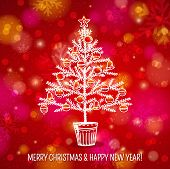 Red Background With Christmas Tree, Vector