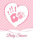 Baby shower card with mum and child handprints, vector illustration