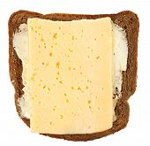 Top View Of Bread And Butter With Cheese Sandwich