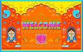 pic of namaste  - illustration of Welcome Background in Indian Truck paint style - JPG