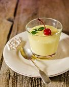 image of moscato  - Zabaione - Italian Alcoholic Dessert with cherry