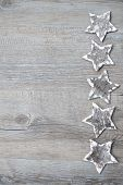Birch Bark Stars Over The Wooden Background