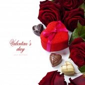St. Valentine's Day roses and chocolate over white (with easy removable text)
