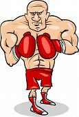 Boxer Sportsman Cartoon Illustration