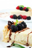 image of cheesecake  - Slices of cheesecakes on plate - JPG