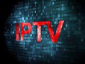 SEO web design concept: IPTV on digital background