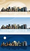 Panorama of the big city. This illustration is an EPS10 file and contains several transparencies blend wich its easily editable in separate layers. Vector illustration scale to any size.