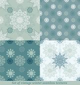 Vintage seamless winter patterns with snowflakes