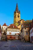 Medieval street in Sibiu, Transylvania, Romania