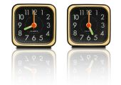 foto of tick tock  - Set of small clocks showing 8am to 5pm time typical hours of a work day - JPG