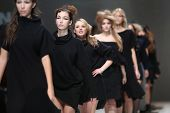ZAGREB, CROATIA - NOVEMBER 22: Fashion models wearing clothes designed by Ivana Popovic on the Zagre