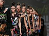 ZAGREB, CROATIA - NOVEMBER 22: Fashion models wearing clothes designed by Ana Kujundzic on the Zagre