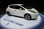 LOS ANGELES, CA - NOVEMBER 20: A Nissan Leaf zero emission vehicle on exhibit at the Los Angeles Aut